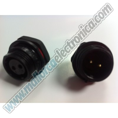 CONECTOR WATERPROOF IP-68  2pins  macho  chasis  250 V  13 A  RoHS