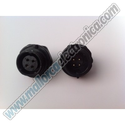 CONECTOR WATERPROOF IP-68  4pins  macho  chasis  200 V  5 A  RoHS