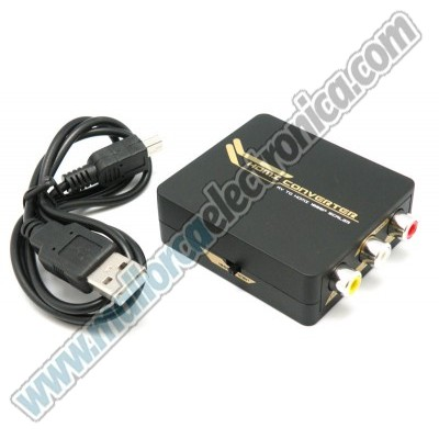 MINI CONVERTIDOR DE SEÑAL DE VIDEO compuesto + AUDIO estereo ( 3 x RCA)  a  HDMI