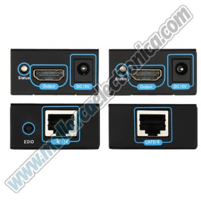 HDMI EXTENDER 1080P por RJ-45 Cat-5e /Cat-6  CON SWITCH HDMI 1-2 (50 Metros cat-5e + 15 Metros HDMI)