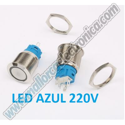 PULSADOR ANTIVANDALICO OFF-ON  19 mm 230V  LED CIRCULO  AZUL  IP-65