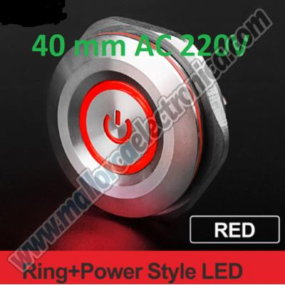 Pulsador IP-65 Acero inoxidable ANTIVANDALICO  AC-220V ROJO LED ON-OFF-ON  OFF-ON-OFF