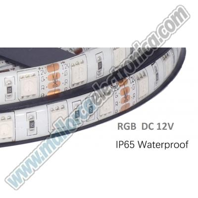 TIRA  LED RGB  ALTA P 14,4W x METRO   5mtrs  IP-65  RC- 12V  led SMD