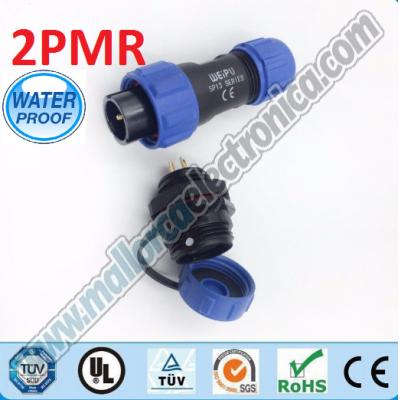 CONECTOR WATERPROOF IP-68  2pins  macho aereo  250 V  13 A  RoHS