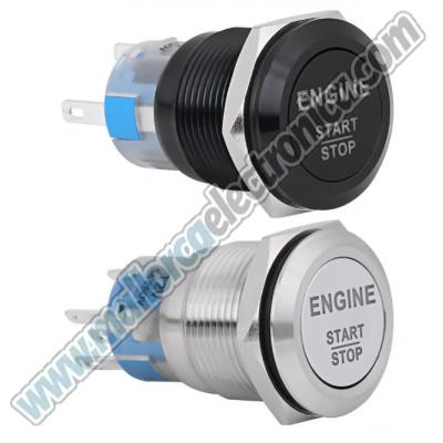 Pulsador METALICO  ( ENGINE START) 22 mm con Luz 12v DC On / Off  Off / On