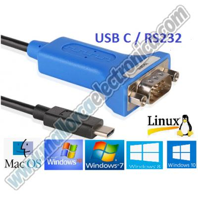 CONVERTIDOR Serie RS 232 a USB C  2.0 Win 7 - Win 8 Win 10 - XP - Mac OS X - Linux