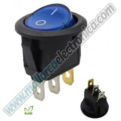 INTERRUPTOR  LUMINOSO 2p ON-OFF  DC-12V 20A AZUL