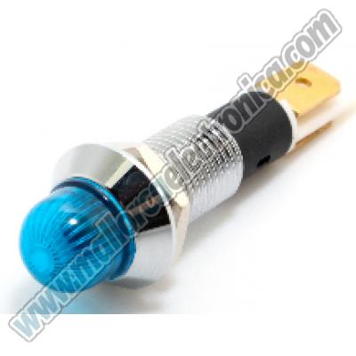 PILOTO METALICO LED 12V / 24V <20ma AZUL 10MM diametro
