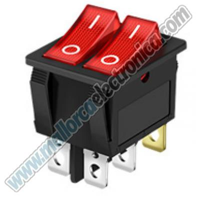 INTERRUPTOR LUMINOSO DOBLE IMDEPEDIENTE Color Rojo 250V 6A