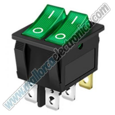 INTERRUPTOR LUMINOSO DOBLE IMDEPEDIENTE Color VERDE 250V 6A