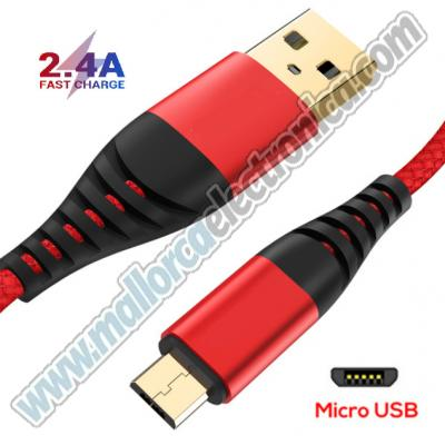 CONEXION Micro USB Data Cable Charger for Android nylon 2.4A ROJO