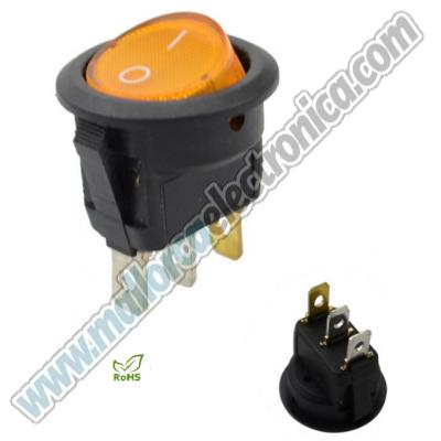 INTERRUPTOR  LUMINOSO 2p ON-OFF  DC-12V 20A AMARILLO