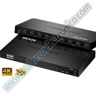 SPLITTER   Ultra HD 4 K  HDMI  1 entrada  8 salidas FULL HD 1080P (3840x2160 @ 60Hz